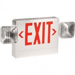 TCP 20784 LED Emergency Exit Combo Unit Red Letters White Housing