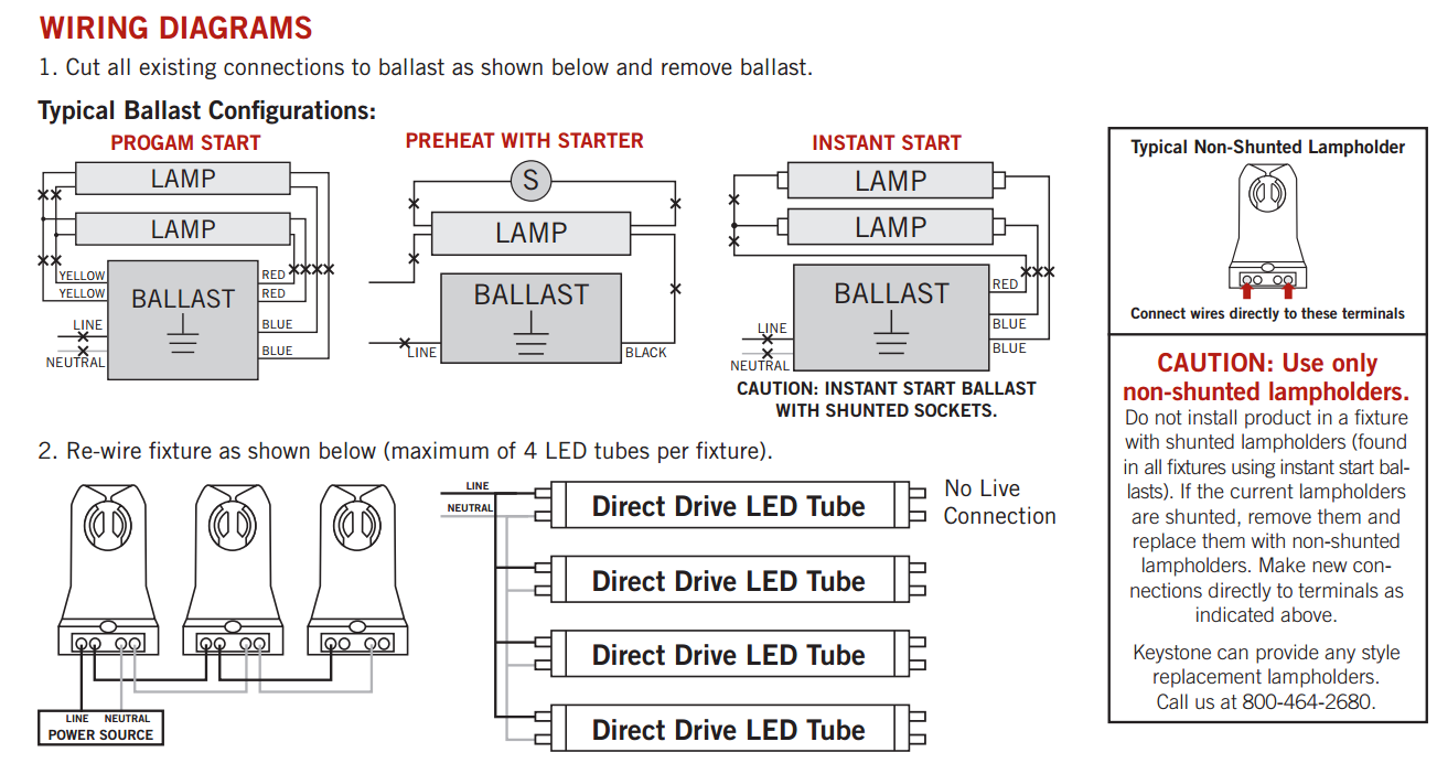 keystone led t8 wiring_1 keystone 4 foot dimmable led t8 tube 5000k bypass ballast replace 4 lamp t8 ballast wiring diagram at gsmportal.co