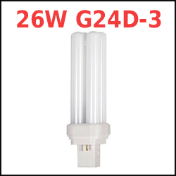 26 Watt 2-pin G24D-3 Base Compact Fluorescent Plugin